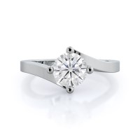 Chic East West Solitaire Moissanite Ring; .5 ct; white gold