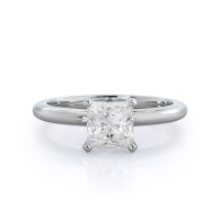 Classic Four Prong Solitaire Princess Moissanite Ring; 0.5 carats; 14kt white gold