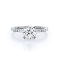 Classic Pave Moissanite Ring, 0.5 carats, white gold