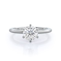 Classic Six Prong Solitaire Moissanite Ring; 0.5 carats; 14kt white gold
