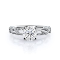Scroll Solitaire Moissanite Ring; 0.5 carats; 14kt white gold