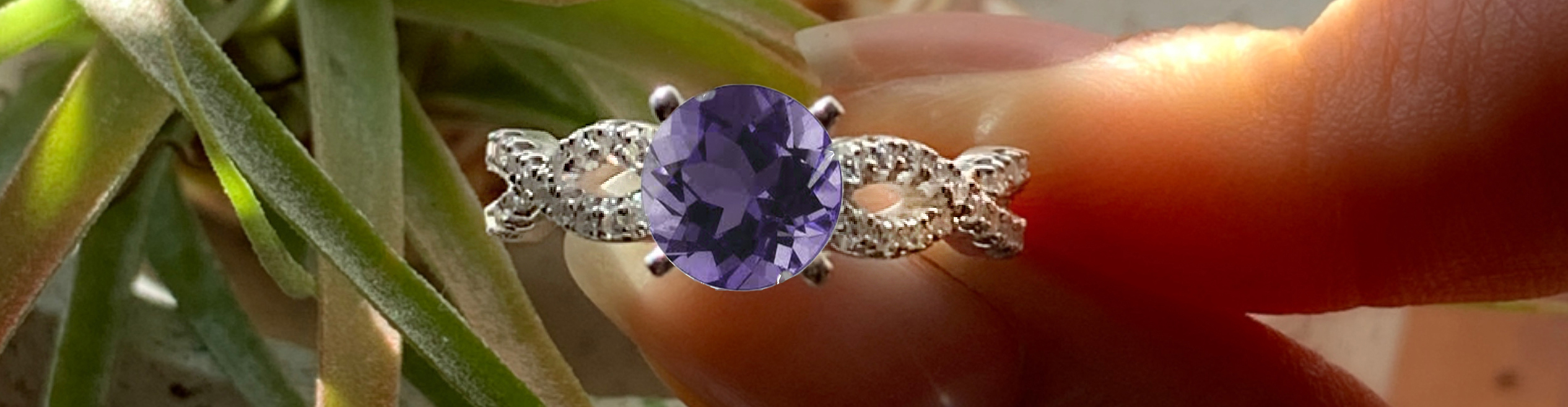 Braided Cathedral Amethyst Ring on Hand