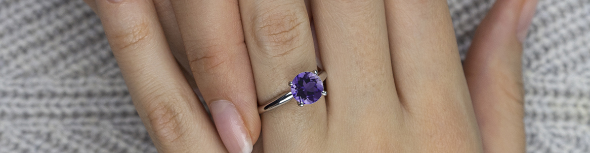 Classic Cathedral Solitaire Amethyst Ring