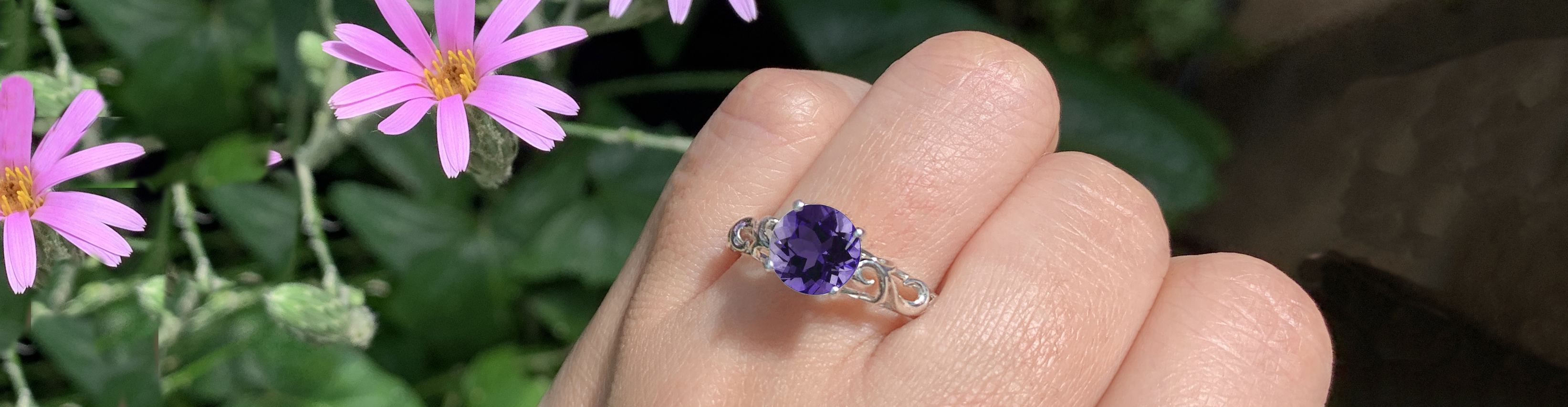 Amethyst Scroll Solitaire Engagement Ring on Hand