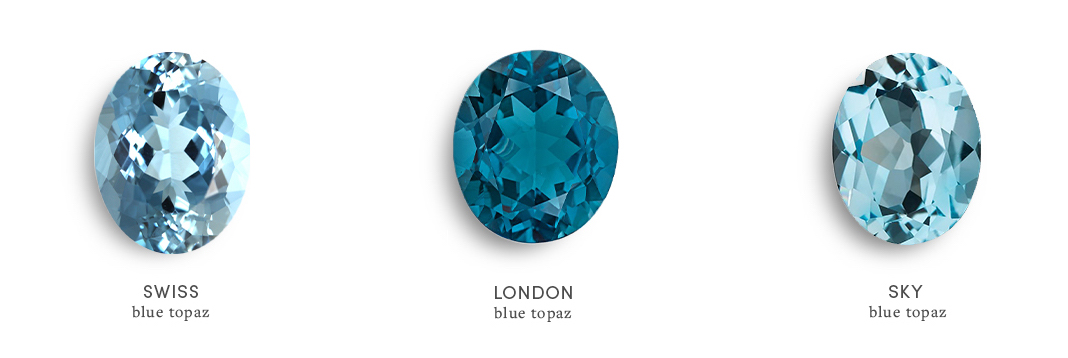 Blue topaz color types: Swiss blue topaz, london blue topaz, sky blue topaz