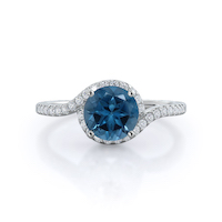 Tapered Halo London Blue Topaz Ring