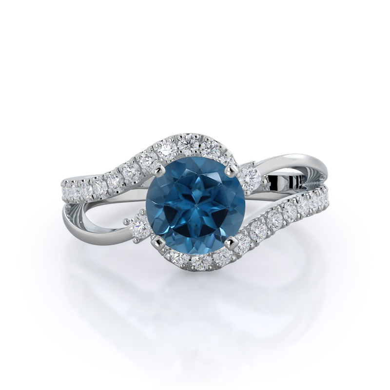 Two Tone Bypass London Blue Topaz Ring