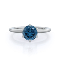 Classic Six Prong London Blue Topaz Ring