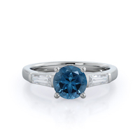 Elegance Three Baguette London Blue Topaz Ring