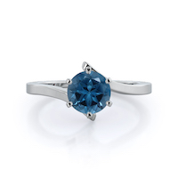 Flourish Solitaire London Blue Topaz Ring