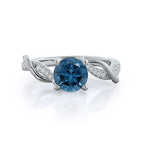Open Criss-Cross London Blue Topaz Ring