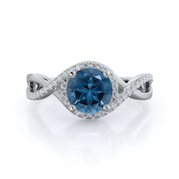 Open Twist Halo London Blue Topaz Ring