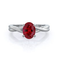 Cathedral Twist Ruby Ring, 14 kt white gold