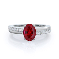 Rising Accents Ruby Ring, 14 kt white gold