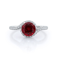 Tapered Halo Ruby Ring, 14 kt white gold