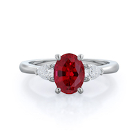 Three Stone Pear Ruby Ring, 14 kt white gold