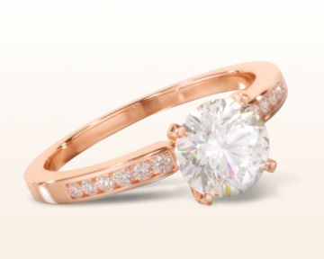 14k rose gold engagement ring Cascading Channel Set Diamond