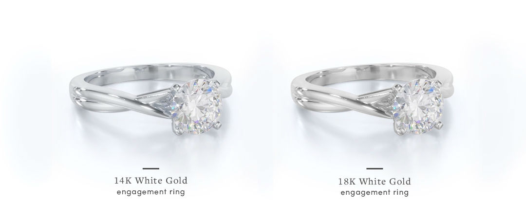 14k vs 18k white gold setting comparison