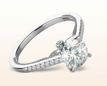 14k white gold engagement ring Accent Milgrain Cathedral Diamond