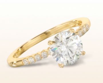 14k yellow gold engagement ring Ridged Pave Diamond