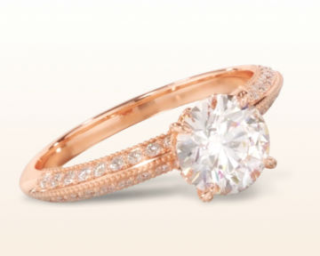 18k rose gold engagement ring Knife Edge Milgrain Diamond