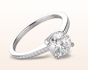 18k white gold engagement ring Underhalo Classic Diamond