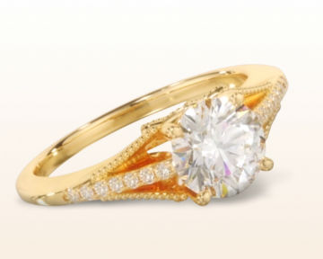 18k yellow gold engagement ring Classic Rising Diamond