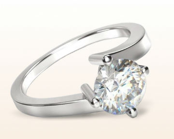 simple white gold engagement rings Chic East West Solitaire