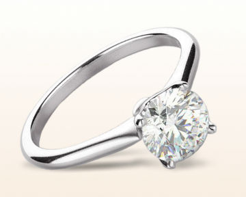 simple white gold engagement rings Noveau Four Prong