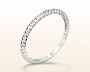 simple white gold rings Duet Pave Set Diamond Women's Wedding Band