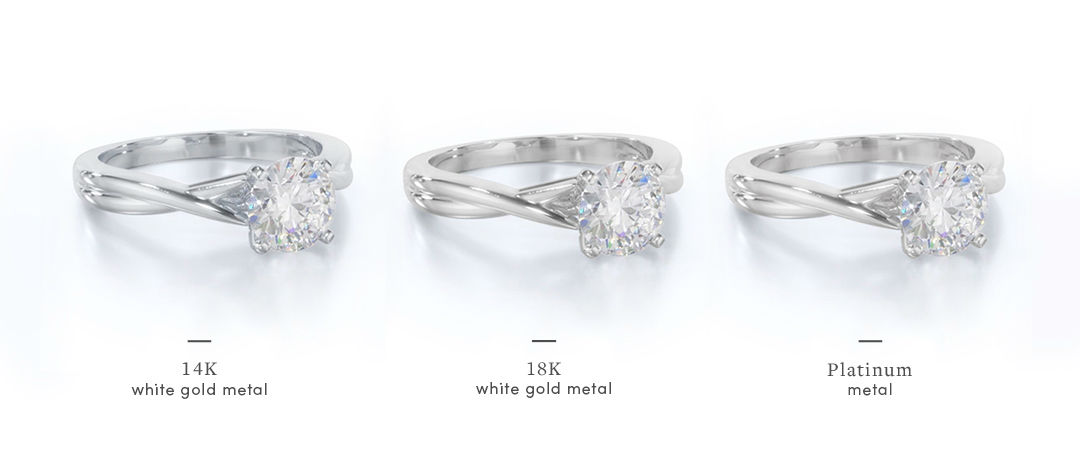 white gold vs platinum setting comparison 14k and 18k