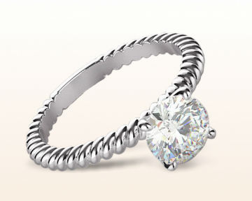 White Gold vs Patinum Braided Solitaire Engagement Ring