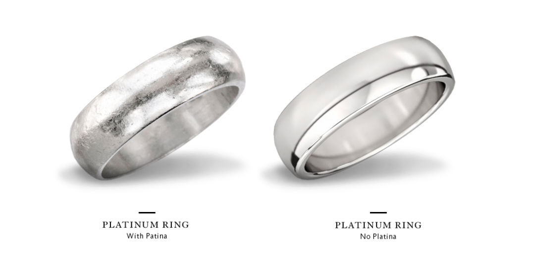 white gold vs platinum rings with and without patina
