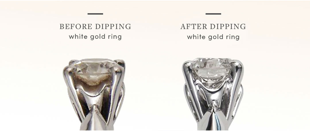 white gold vs platinum ring dipping before and after