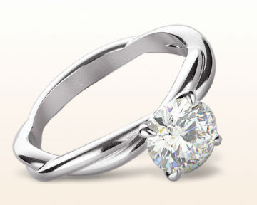 White Gold vs Platinum Twirling Solitaire Diamond Engagement Ring