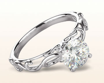 platinum engagement rings Scroll Solitaire Diamond