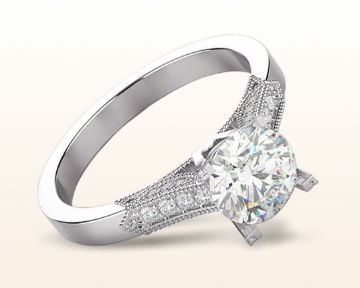 platinum engagement rings Vintage Side Diamond