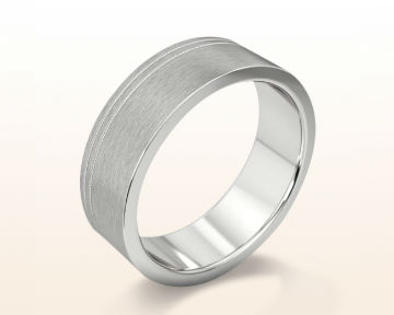 Men's Platinum Wedding Bands Carved Satin Light Weight