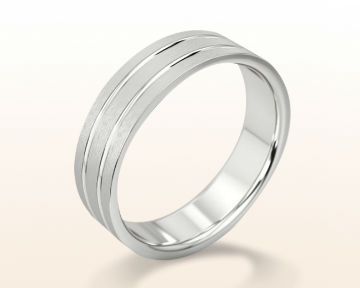 Men's Platinum Wedding Bands Double Polish Split Men's Wedding Band