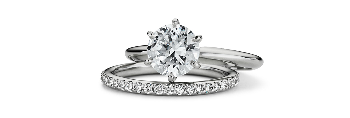 platinum diamond ring and platinum diamond band matching set