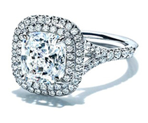 double halo pave set diamond ring for a cushion cut diamond
