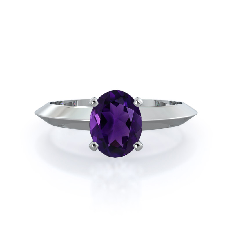 Knife Edge Solitaire Amethyst Ring