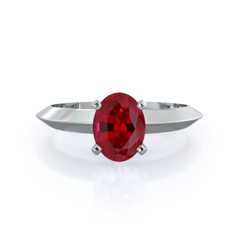 Knife Edge Solitaire Ruby Ring