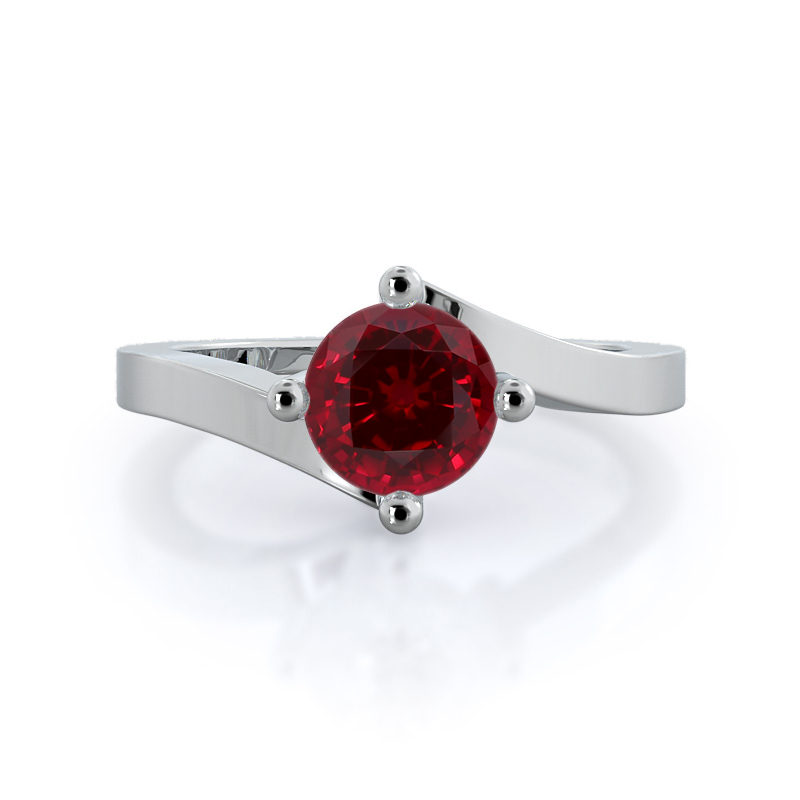 Chic East West Solitaire Ruby Ring
