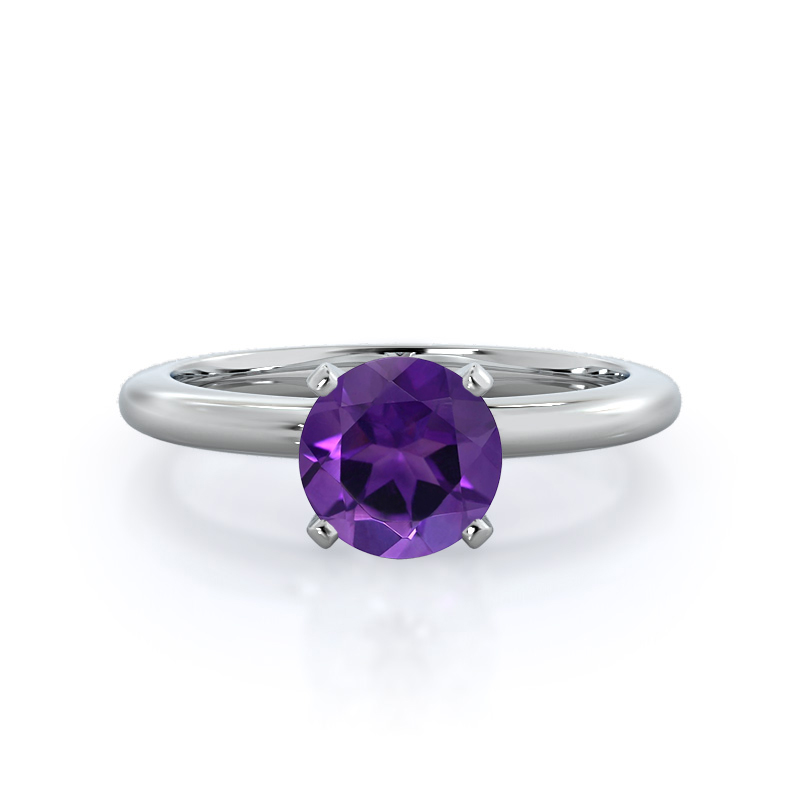 Classic Four Prong Solitaire Amethyst Ring
