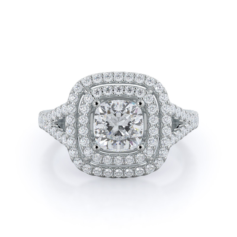 Double halo cathedral diamond engagement ring