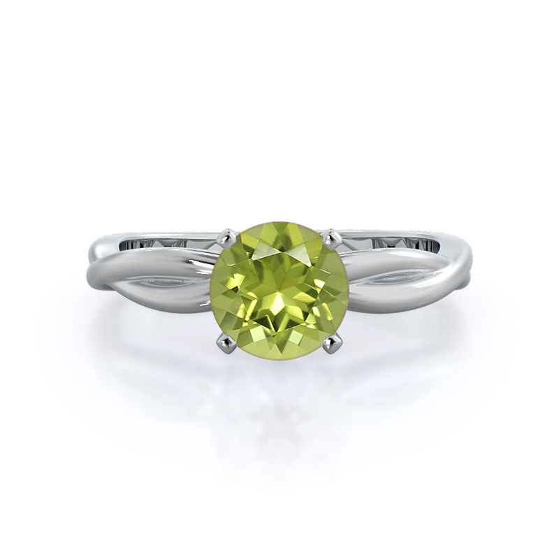 Twisting Solitaire Peridot Ring