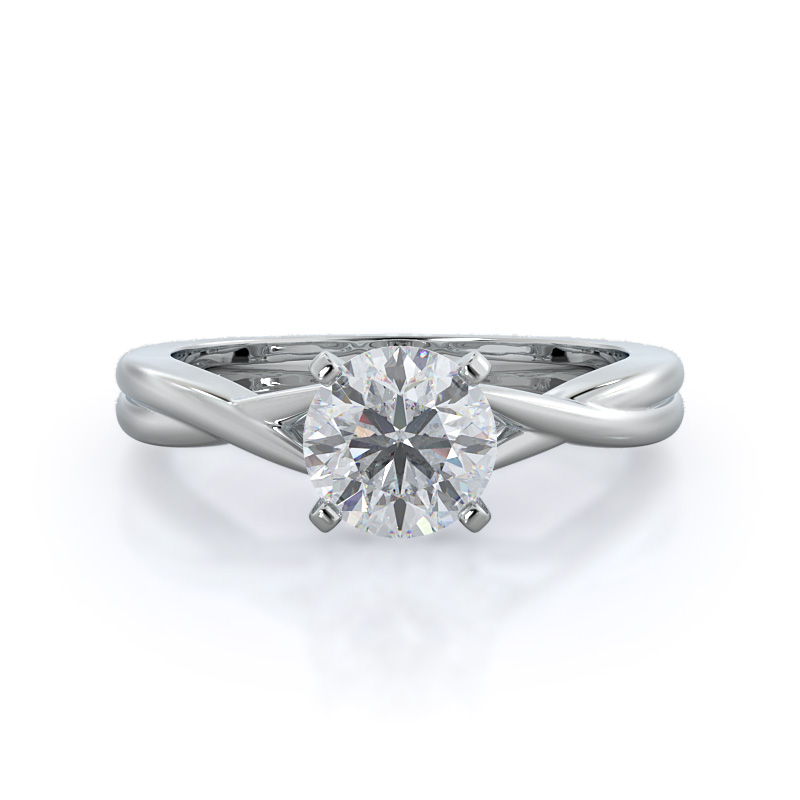 Cathedral twist diamond engagement ring