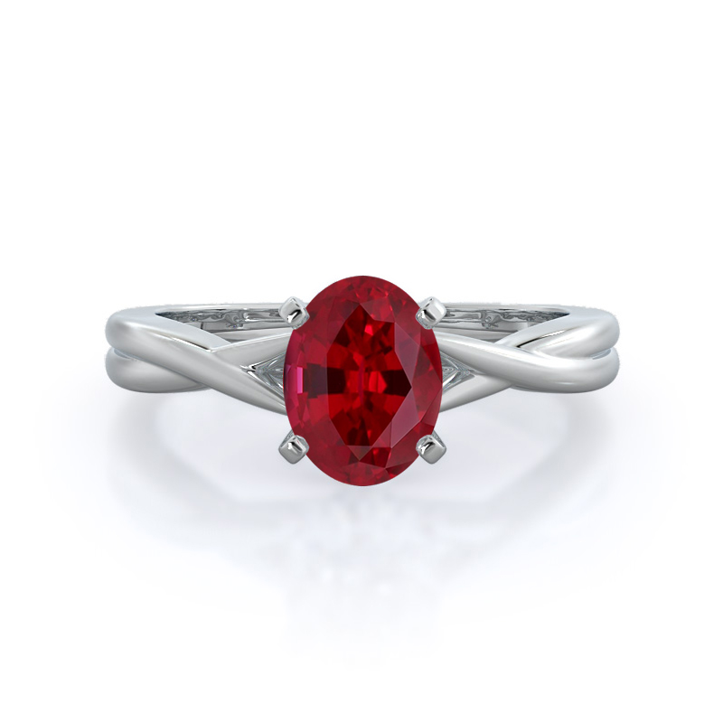 Cathedral Twist Ruby Ring