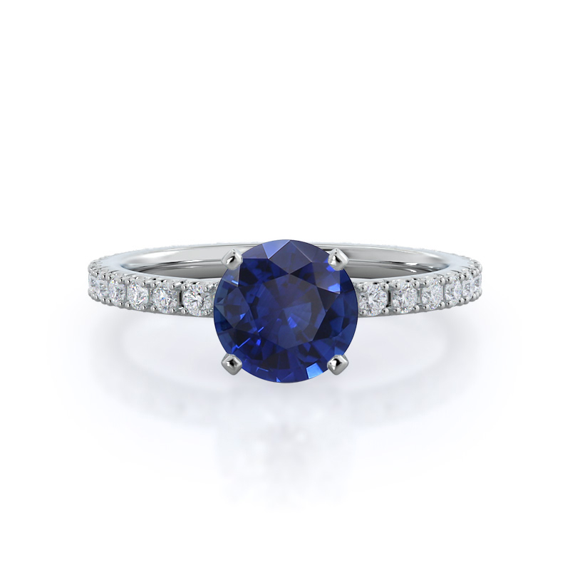 Open French Cut Pave Sapphire Ring